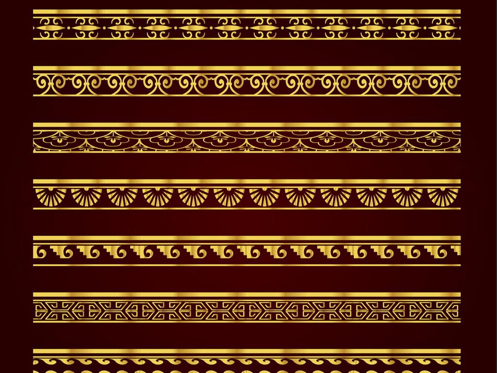 金色欧式中式边框花纹蕾丝分割线矢量素材