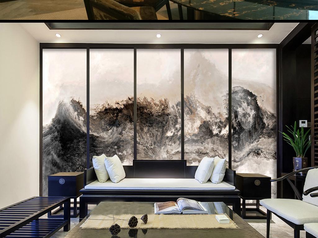 新中式手绘山水国画壁纸背景墙图片设计素材_高清模板