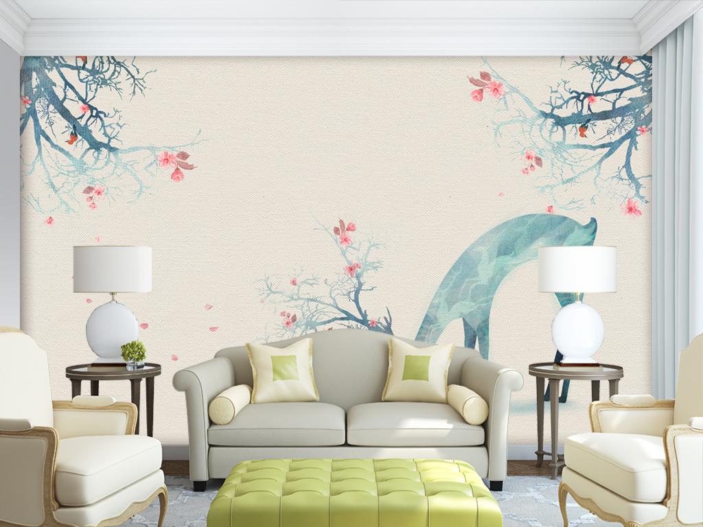 手绘水彩油画森林麋鹿现代简约壁纸背景墙