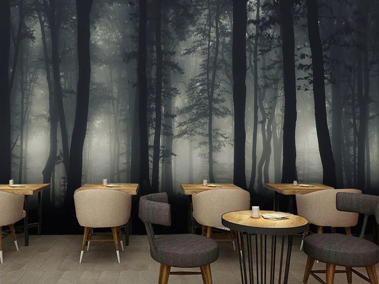 深色系列树林森林背景墙