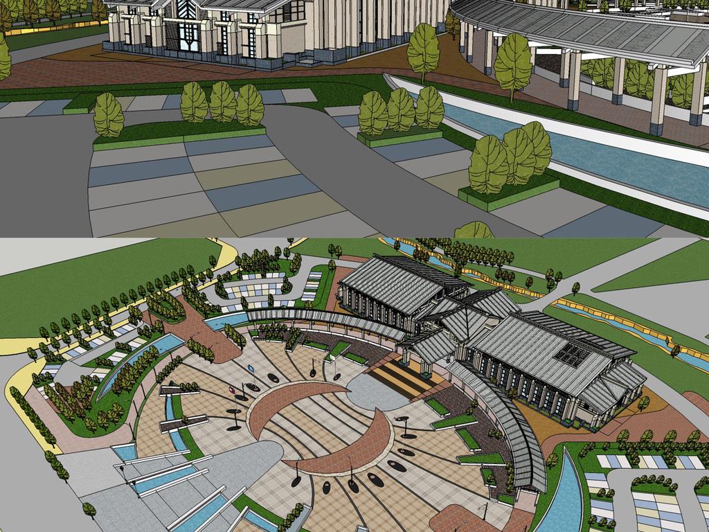 新中式风格公园广场su模型