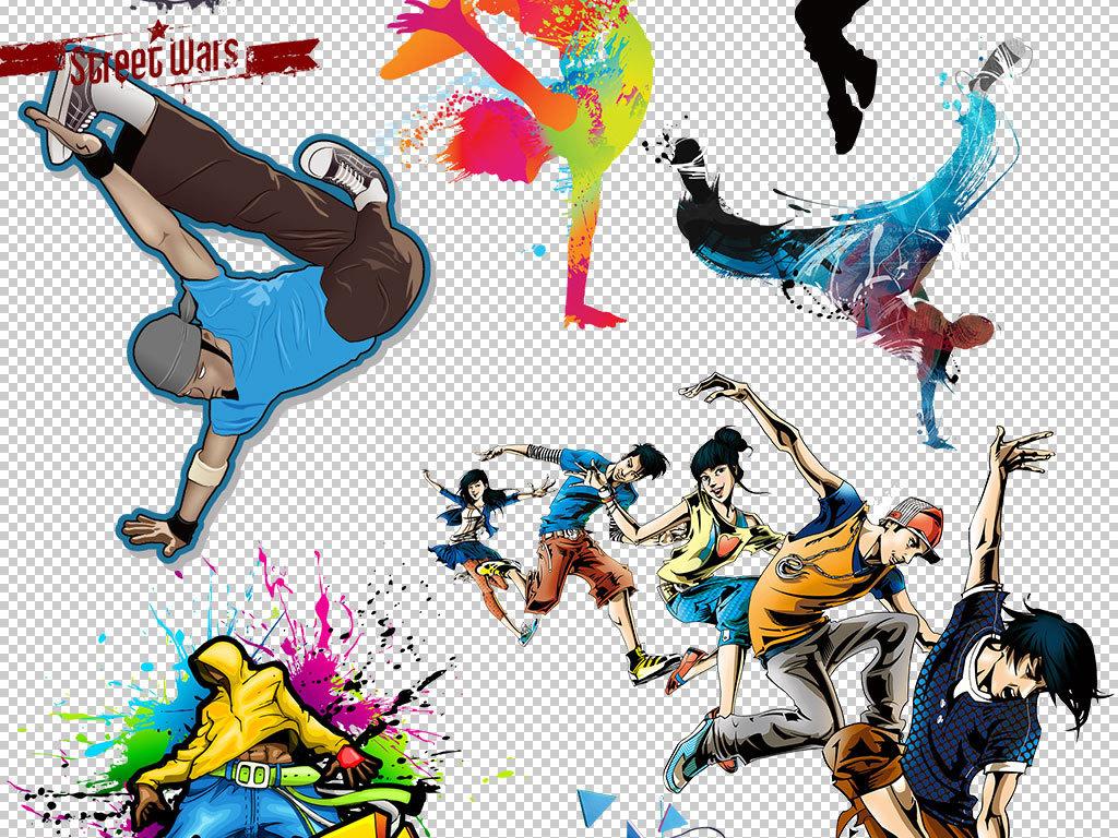 设计作品简介: 街舞动作海报人物字体png素材 矢量图, rgb格式高清