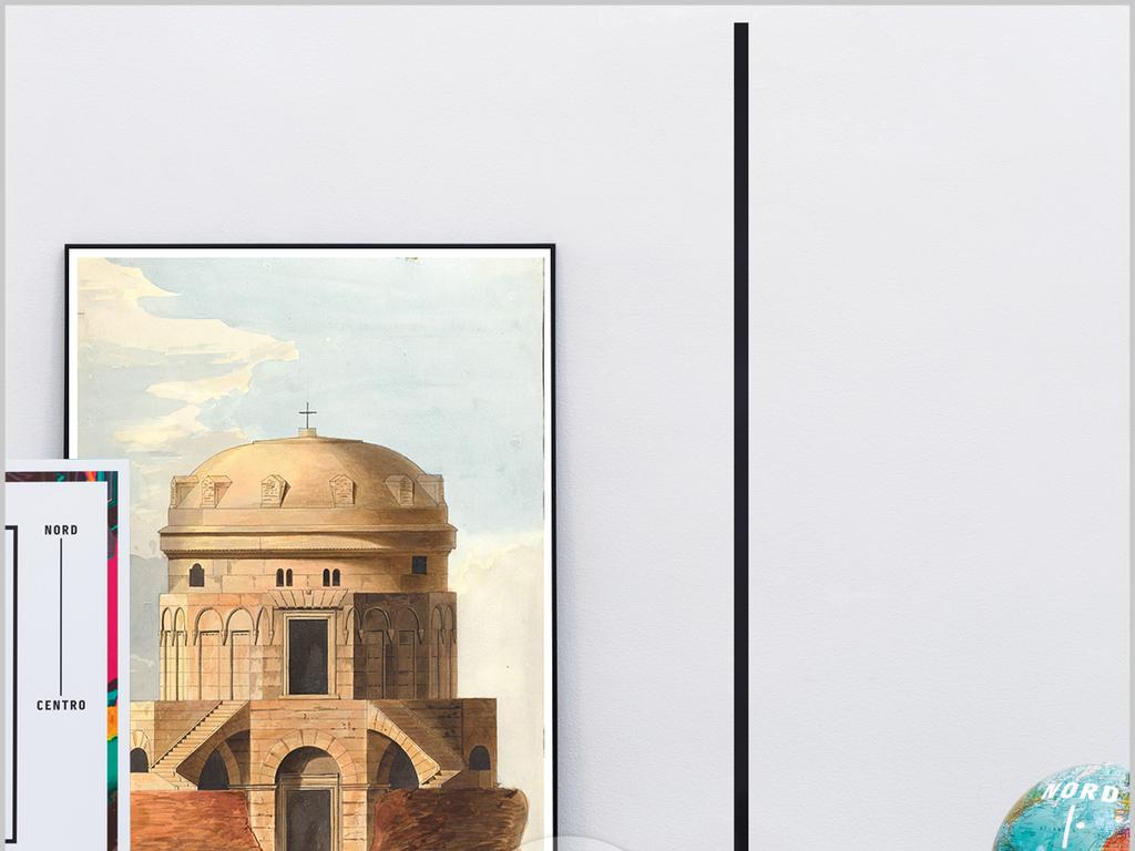 手绘现代简约欧洲城市老街背景墙装饰画