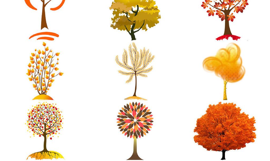 秋天树木免抠png透明图片素材