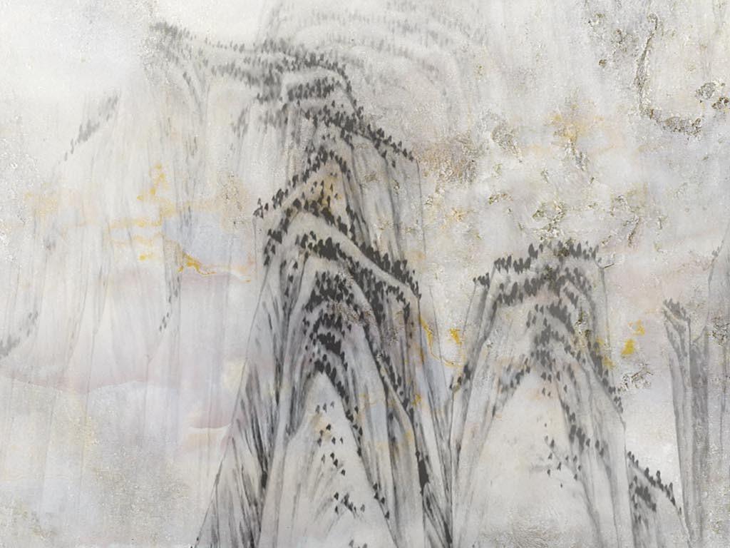 高清水墨大理石纹风景画背景墙