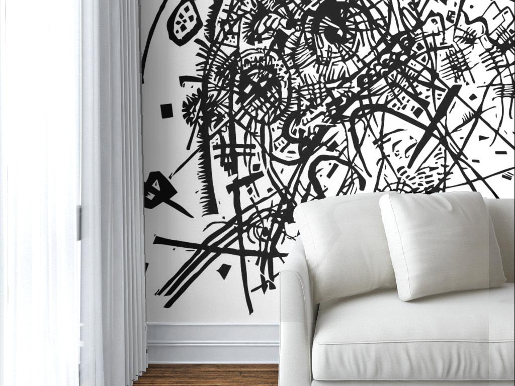 现代简约黑白手绘涂鸦墙纸