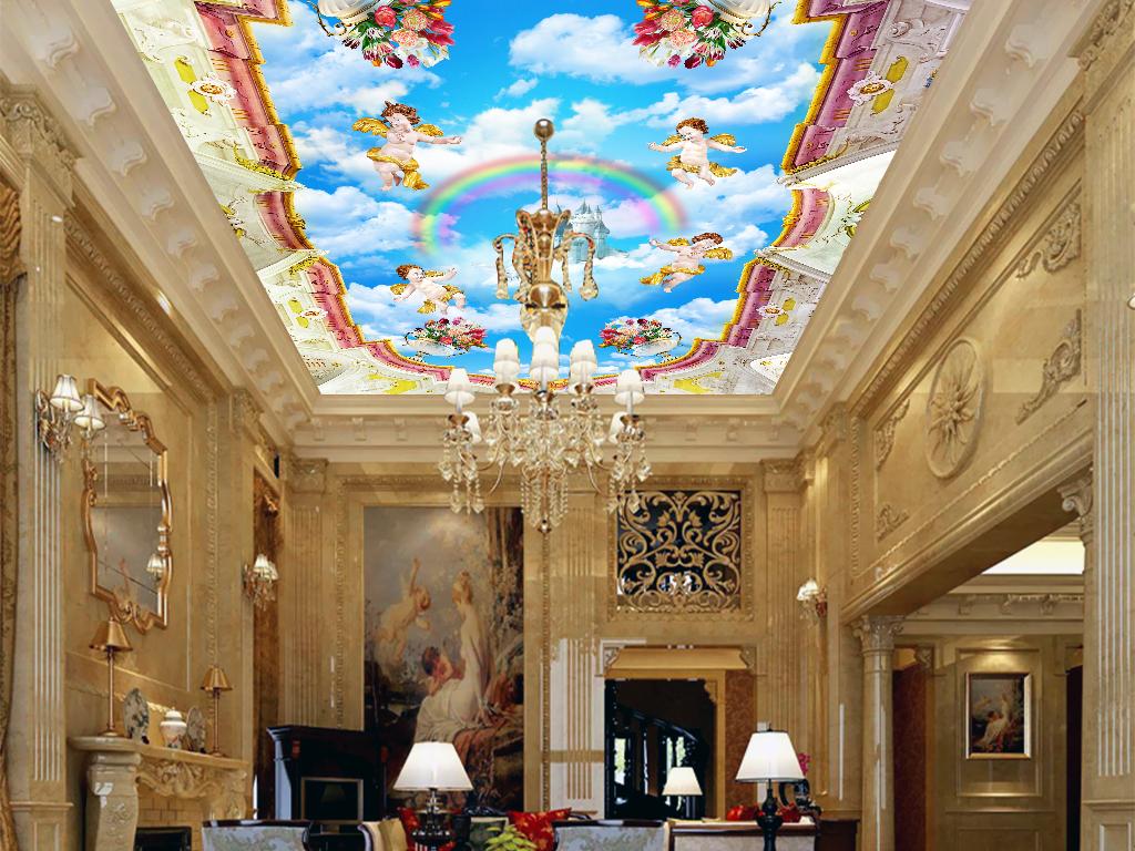 背景墙|装饰画 吊顶|天顶壁画 欧式吊顶 > 3d欧式宫廷天使之城吊顶