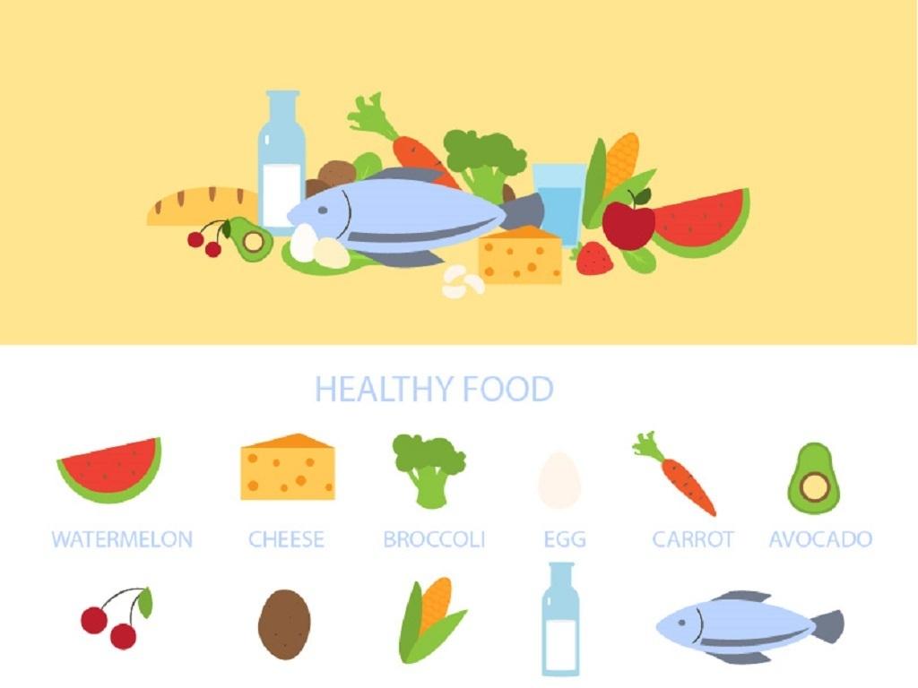 设计作品简介: 健康食物搭配食谱背景图 矢量图, cmyk格式高清大图
