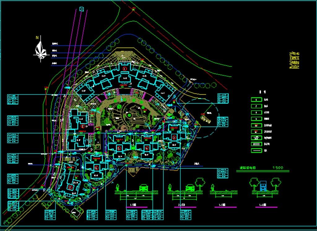 某花园小区cad总平面设计图