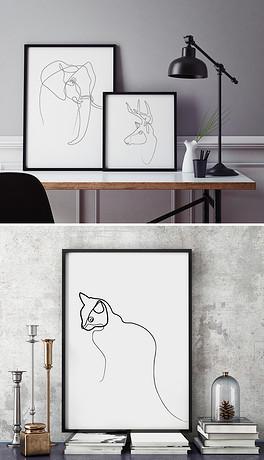 铅笔画简笔画黑白小熊现代简约可爱装饰画图片设计素材 高清模板下载 6.99MB 抽象装饰画大全