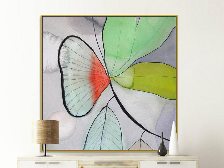 可爱清新简约绿色橙色叶子抽象装饰画