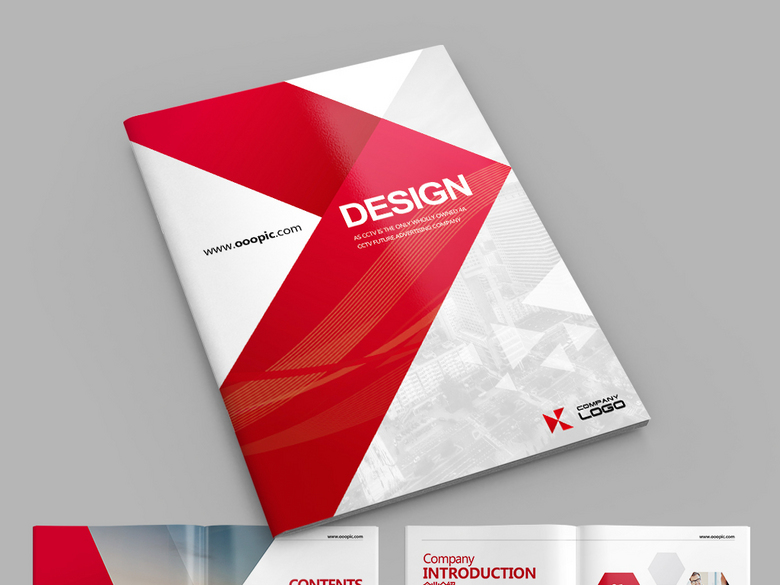 大气红色通用企业宣传画册设计AI模板