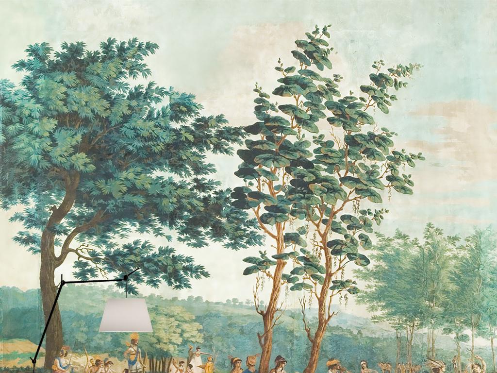 欧式田园雨林印第安部落复古怀旧壁画背景墙