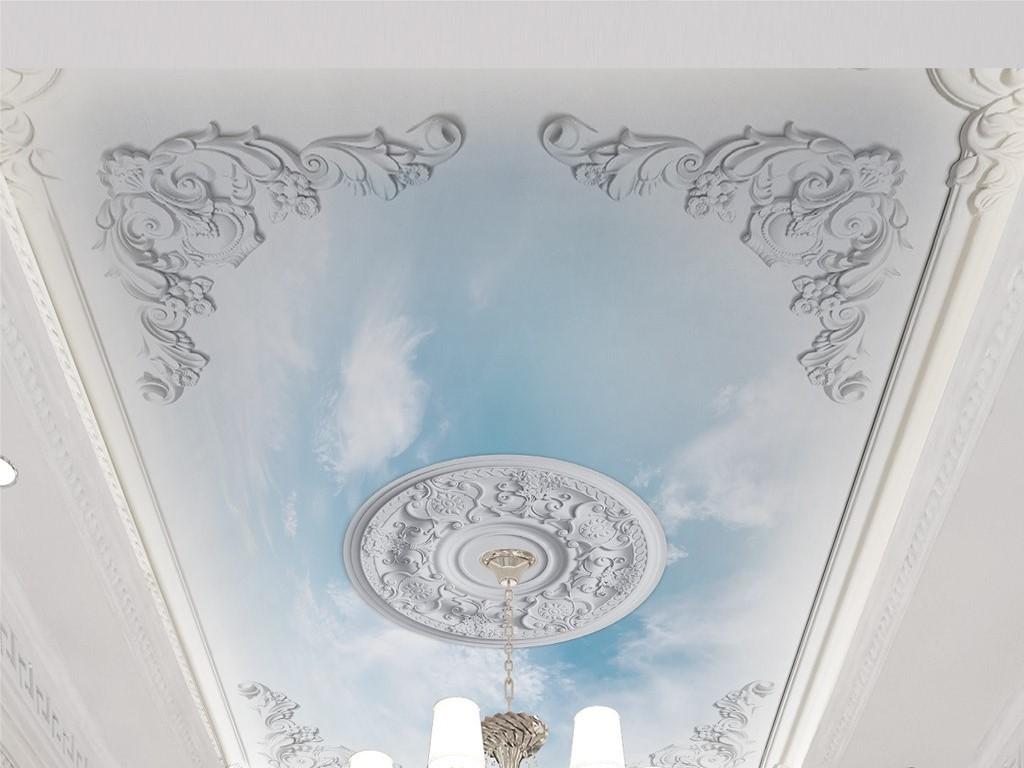 白色石膏欧式浮雕蓝天白云天花板吊顶背景墙