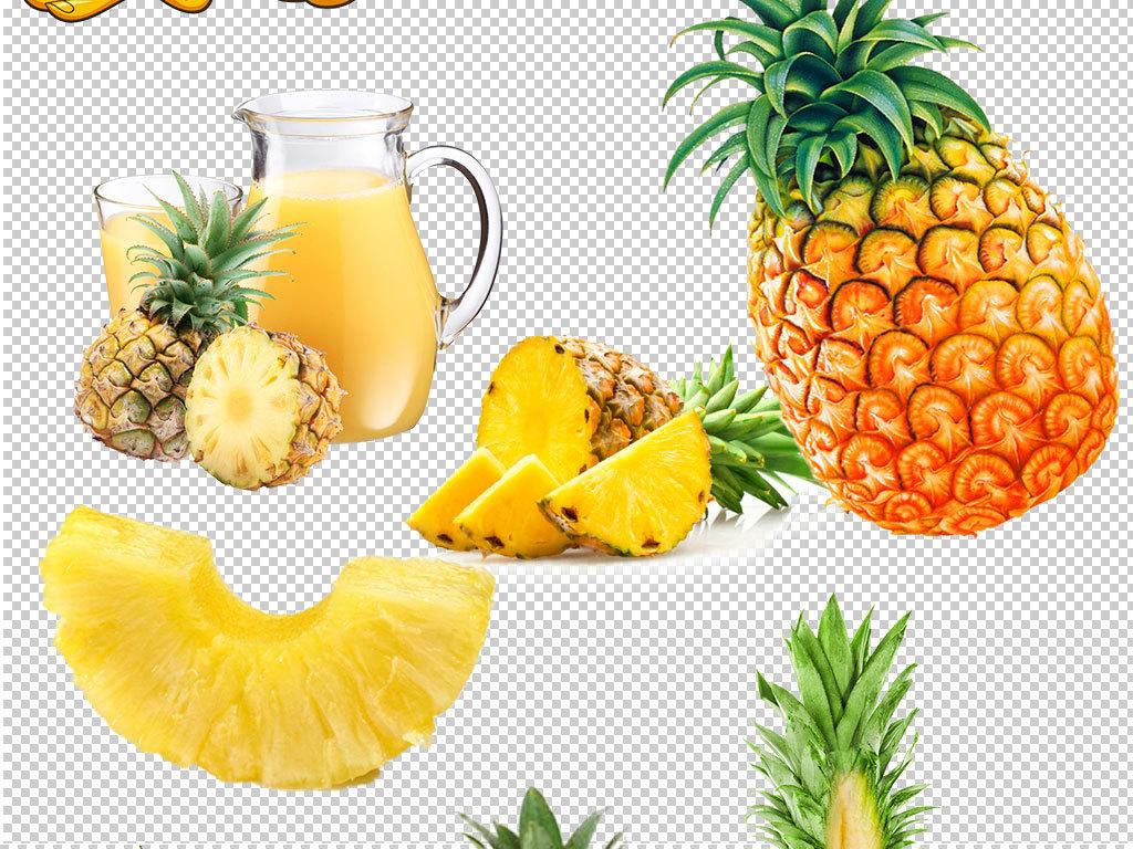 卡通实物菠萝海报png素材