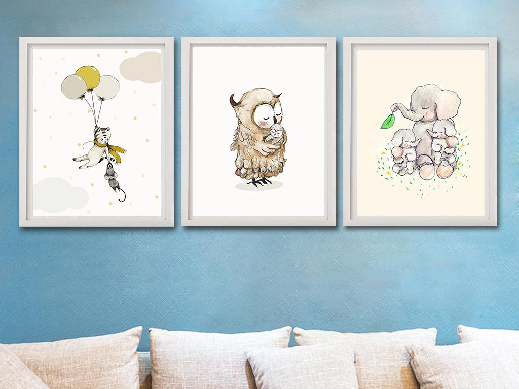 背景墙 装饰画 无框画 卡通动漫无框画 > 母爱现代简约手绘猫大象
