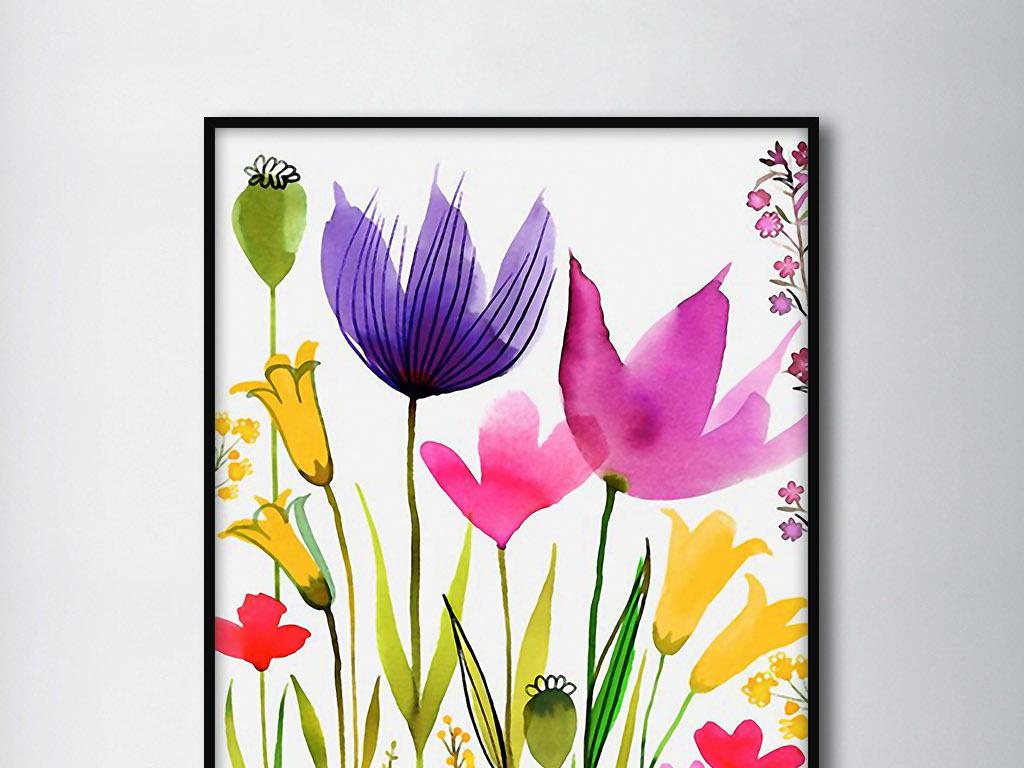 背景墙 装饰画 无框画 欧式手绘水彩花卉花纹北欧小清新家居.