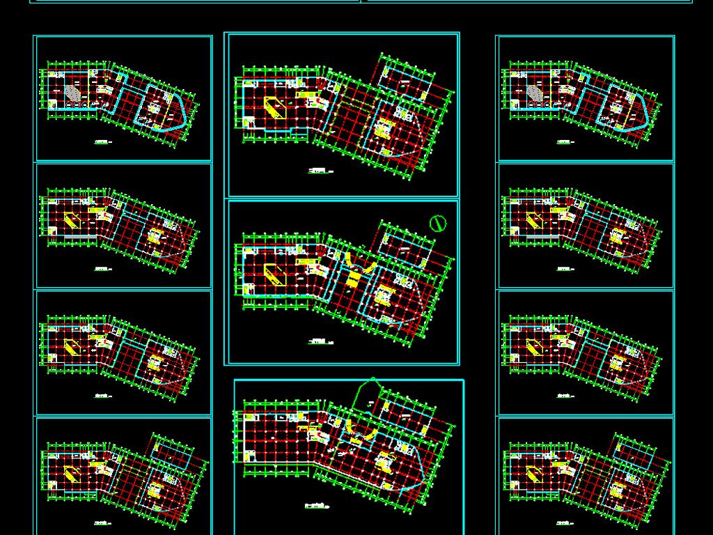 dwg)写字楼建筑设计图纸办公楼施工图高层大楼施工图商住楼施工图