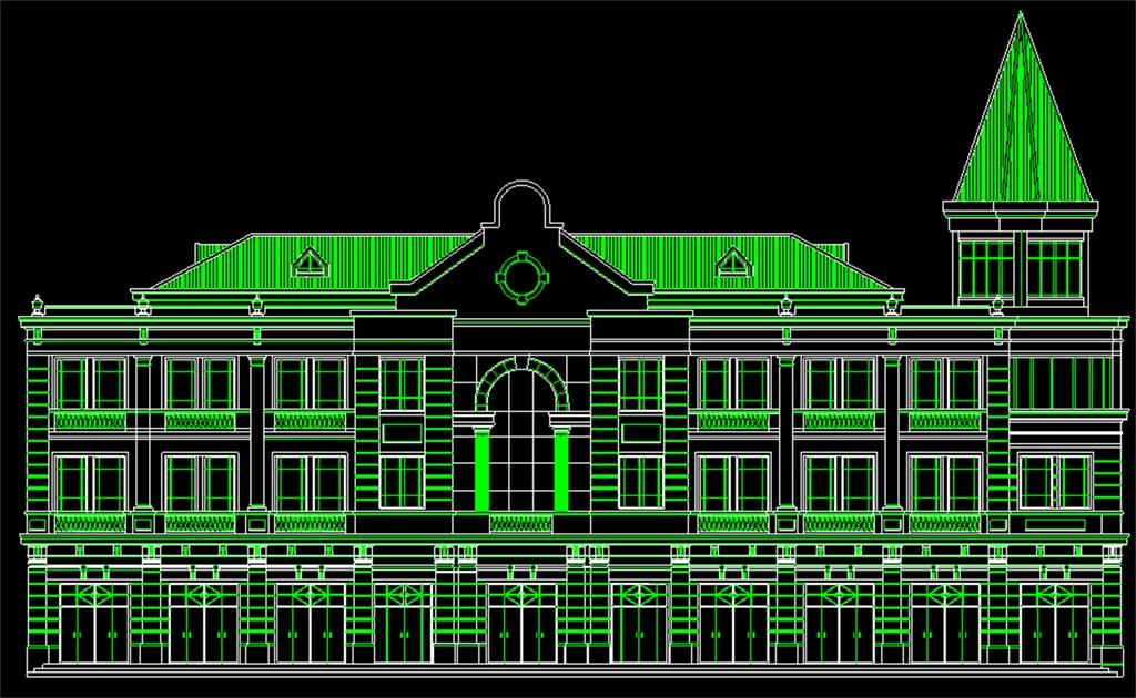 设计古建筑结构图雕刻花纹建筑图纸外观建筑cad欧式建筑建筑工程设计