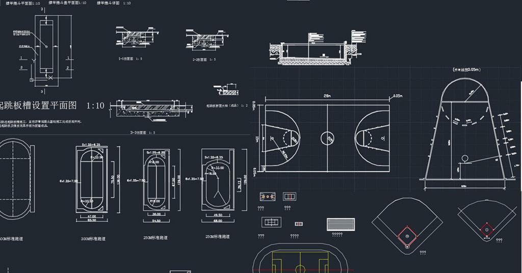 cad圖庫 室內設計cad圖庫 cad圖紙 > 運動場地籃球場排球場羽毛球場