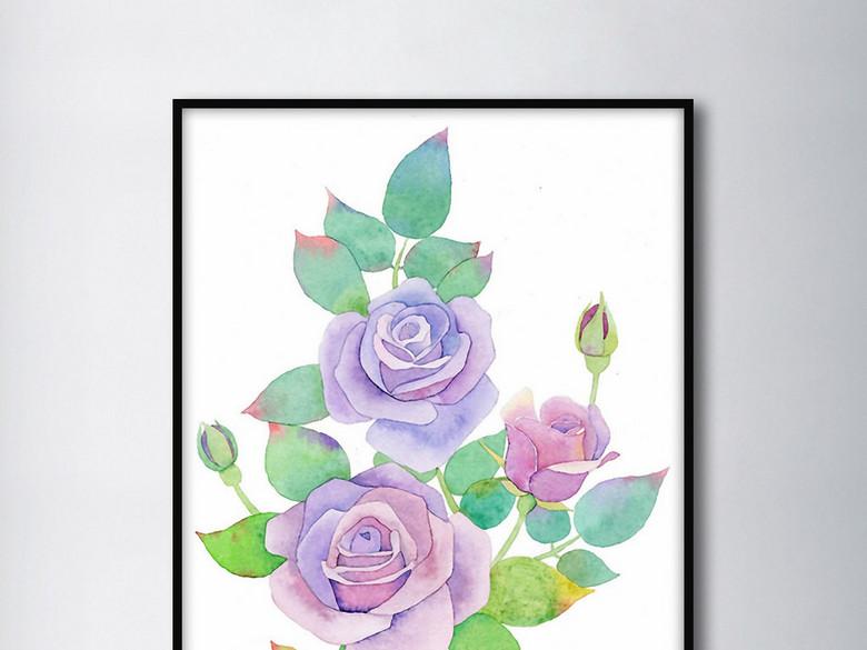 淡蓝色玫瑰花欧式手绘北欧小清新家居装饰画