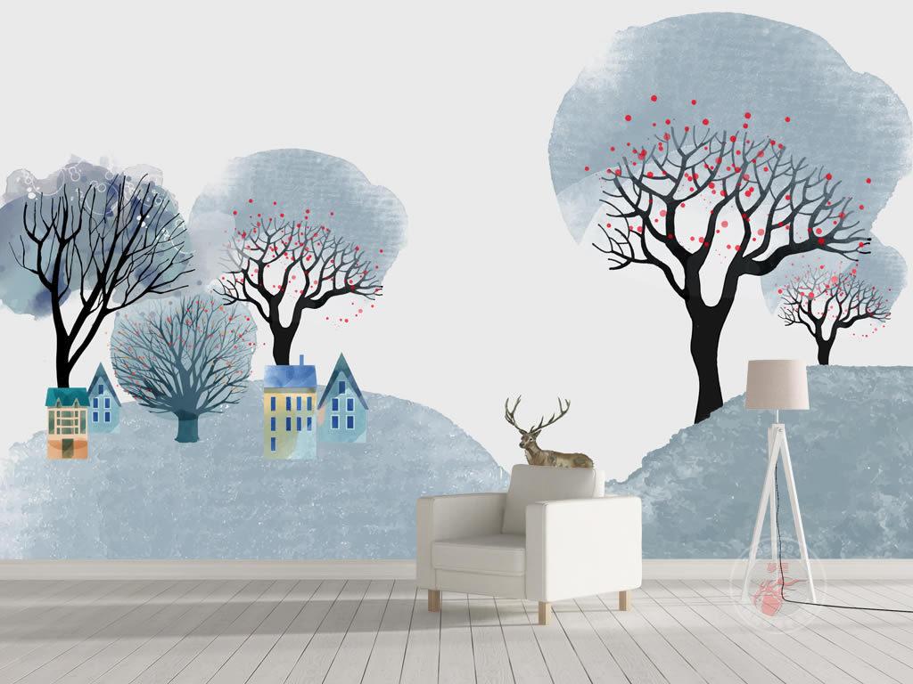 北欧简约麋鹿小山小鹿树林山脉背景墙装饰画
