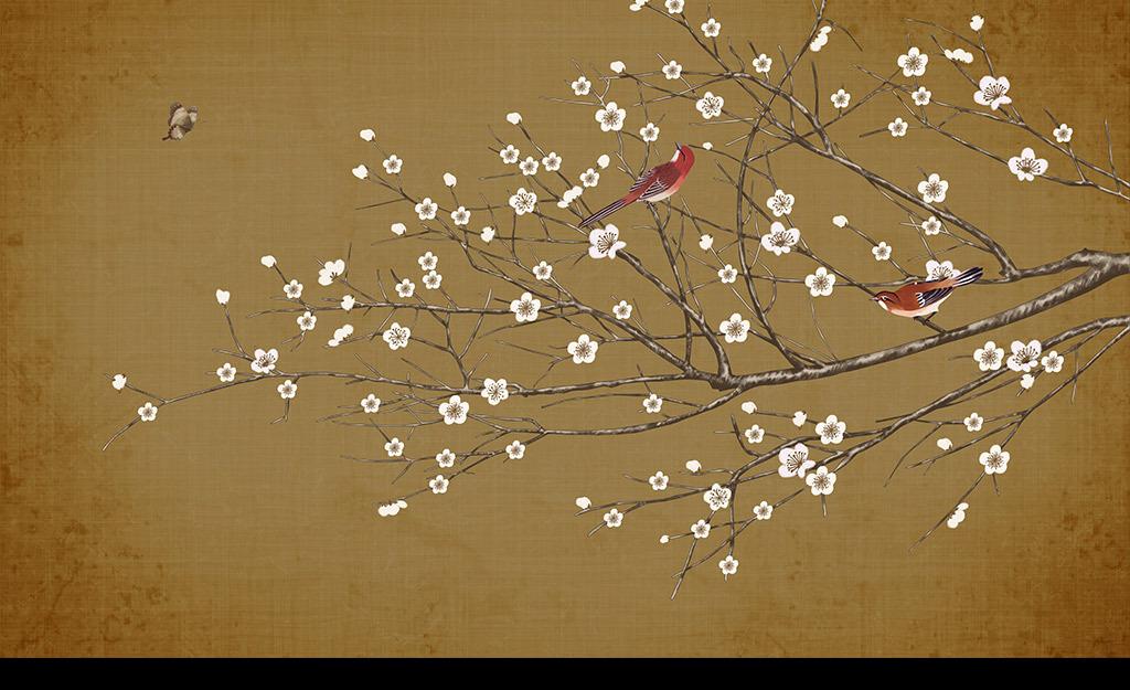 手绘中式复古工笔花鸟画背景墙装饰画