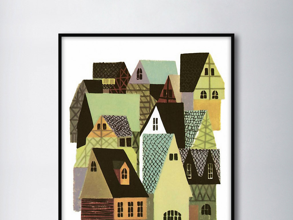 瑞典的房子北欧抽象手绘水彩欧式室内.