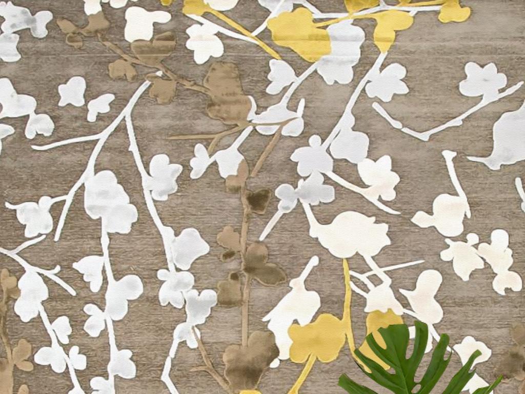 新中式日式抽象花纹樱花地毯挂毯玄关壁画