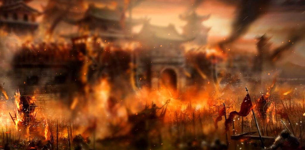 游戏战争古城战火炊烟战场flash动态背景