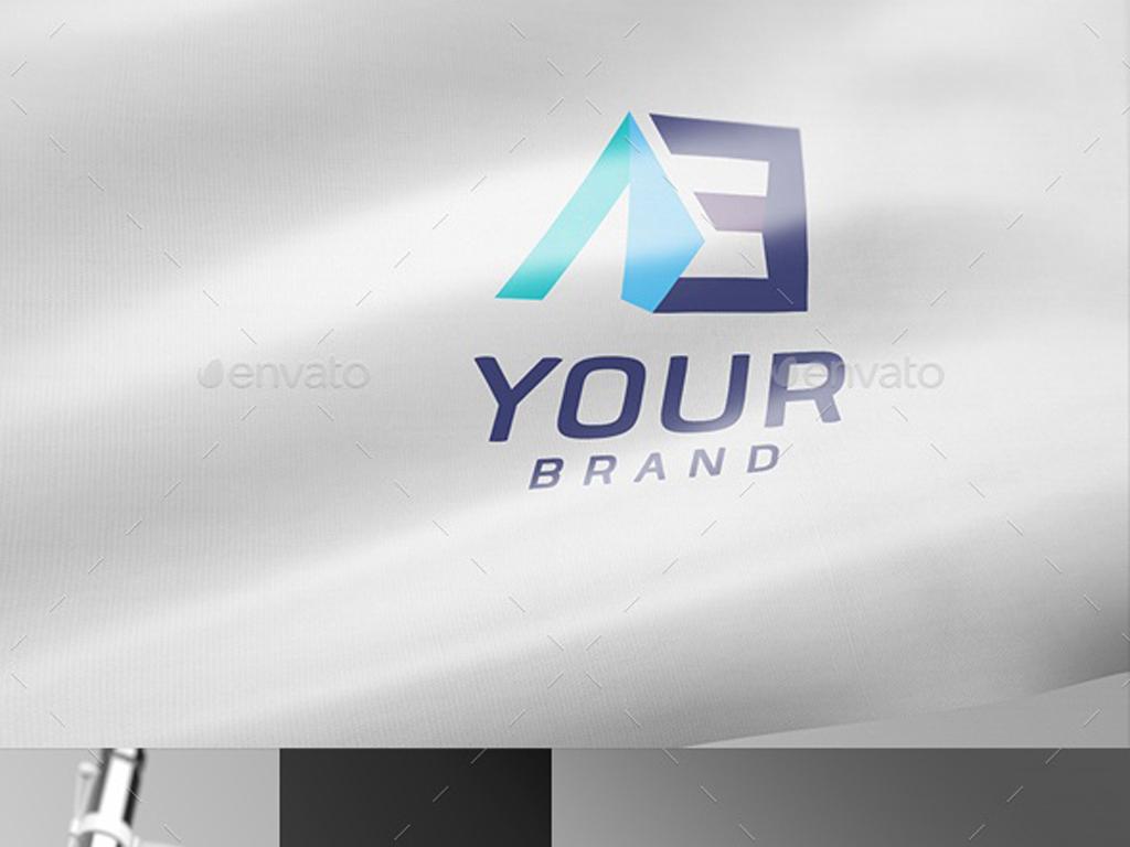 企业logo形象展示旗帜样机psd分层