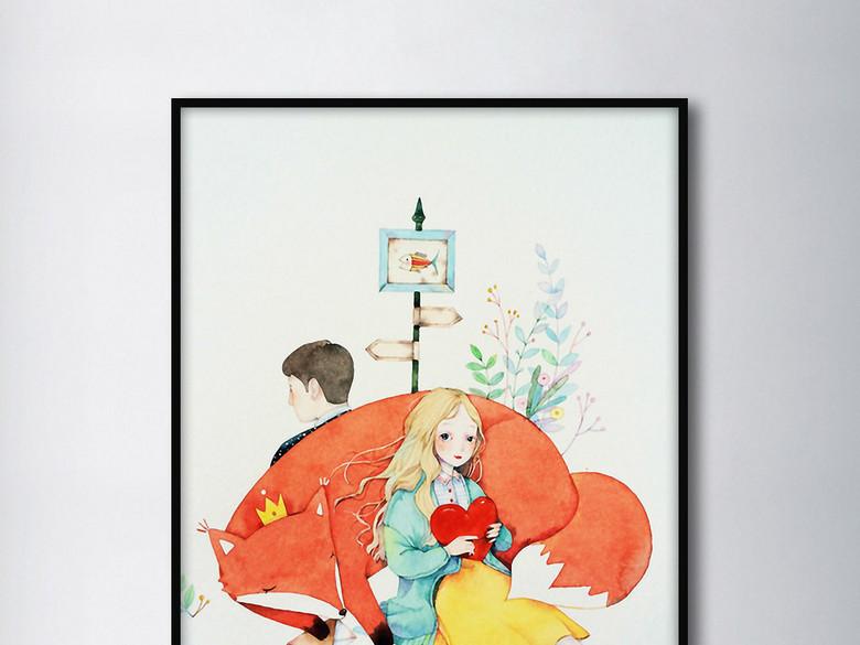 红狐狸情侣相伴陪伴温暖色调小清新装饰画