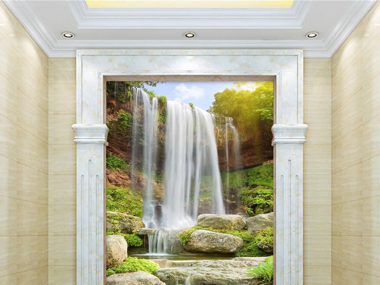 原创3D瀑布风景画流水生财立体玄关背景墙