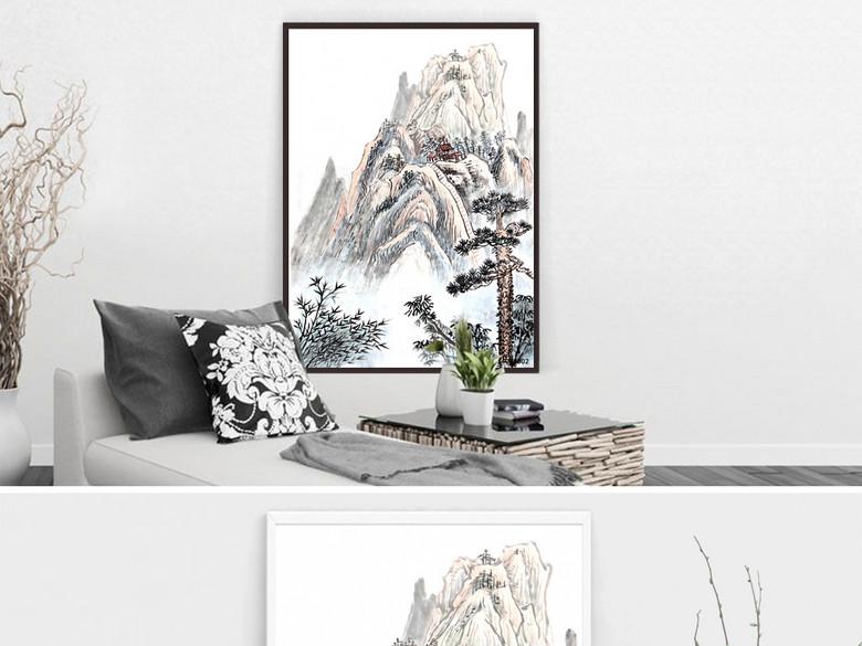 唯美中国风水墨画山水风景装饰画