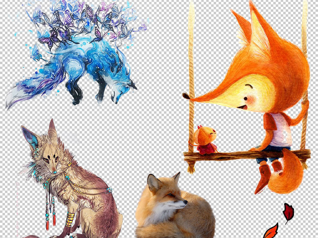 卡通狐狸动物图片海报素材