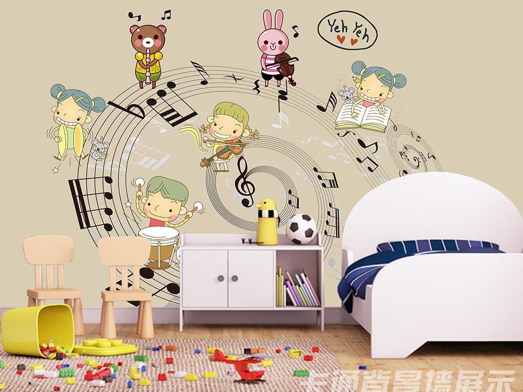 手绘简约卡通音乐背景墙