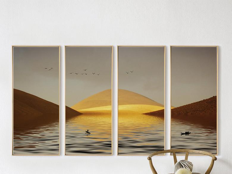 新中式金色山水风景四联无框装饰画