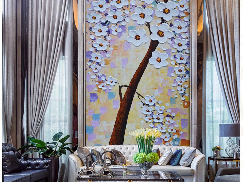 本网唯一超巨幅高清唯美发财树油画艺术玄关