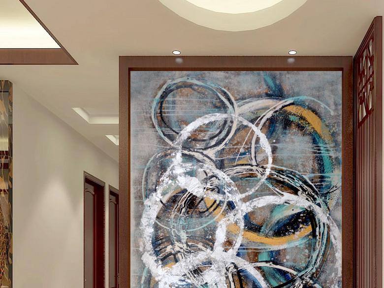 艺术不规格线条油画圆圈艺术玄关