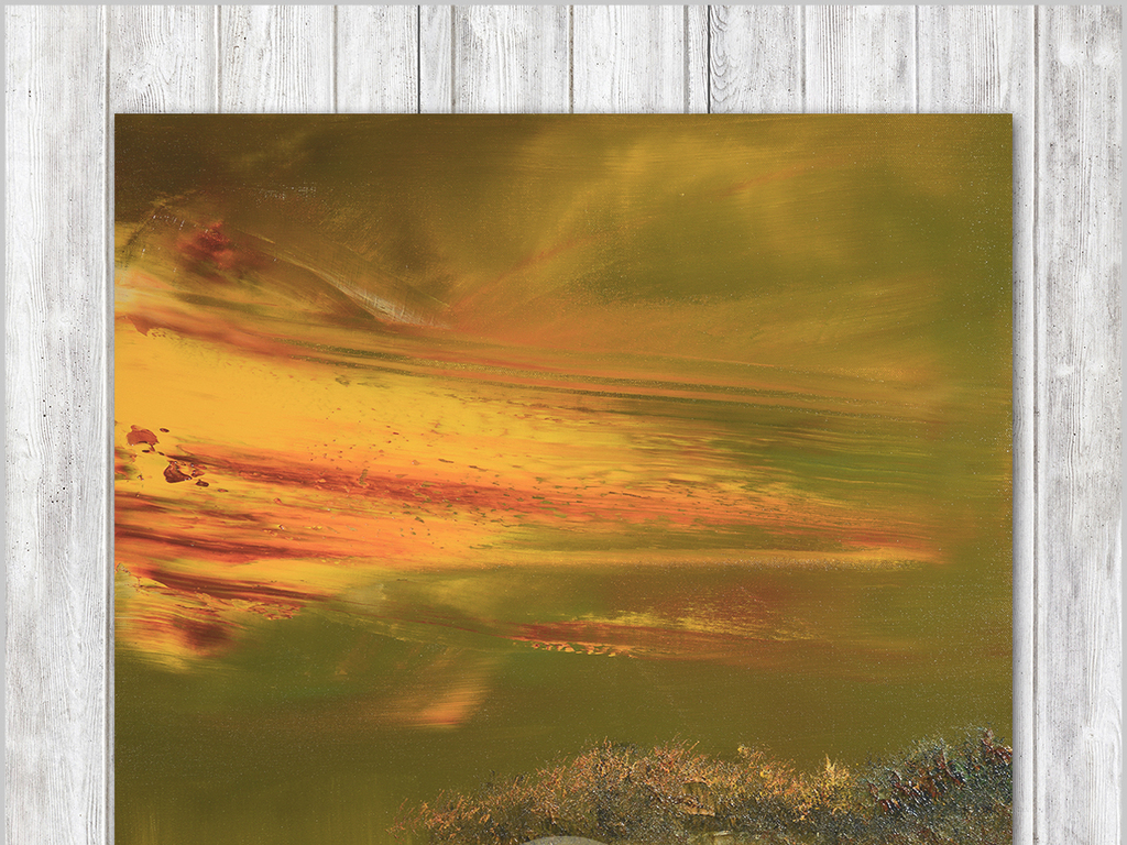 油画玄关背景墙水彩画极简艺术大海海浪唯美手绘抽象大海金色抽象风景
