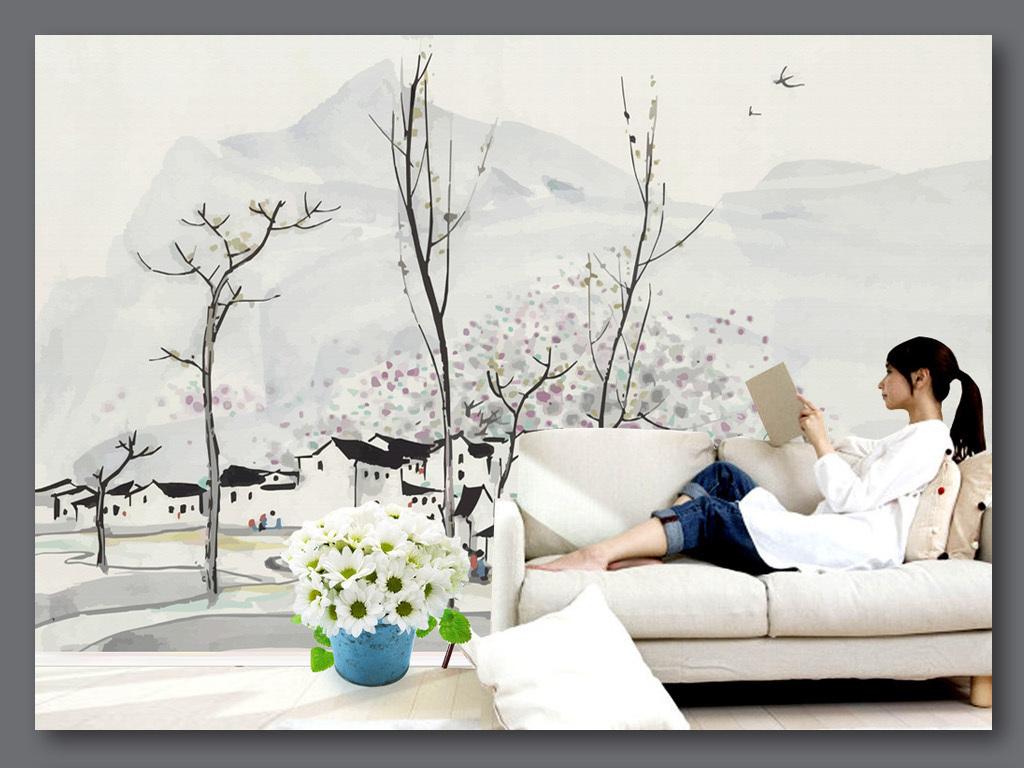 手绘吴冠中水墨画山村油画风格背景墙