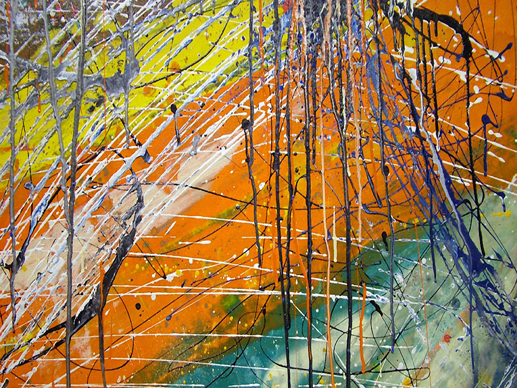 水彩画                                  油画森林小树