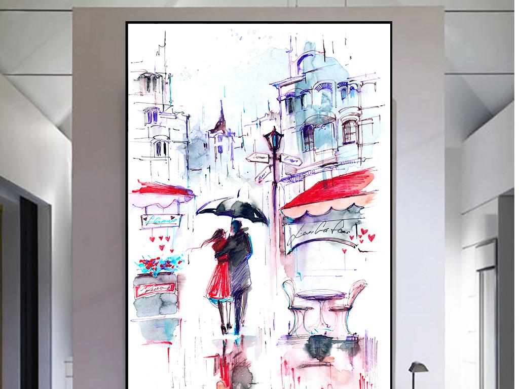 现代手绘唯美街道上的咖啡馆与情侣装饰画