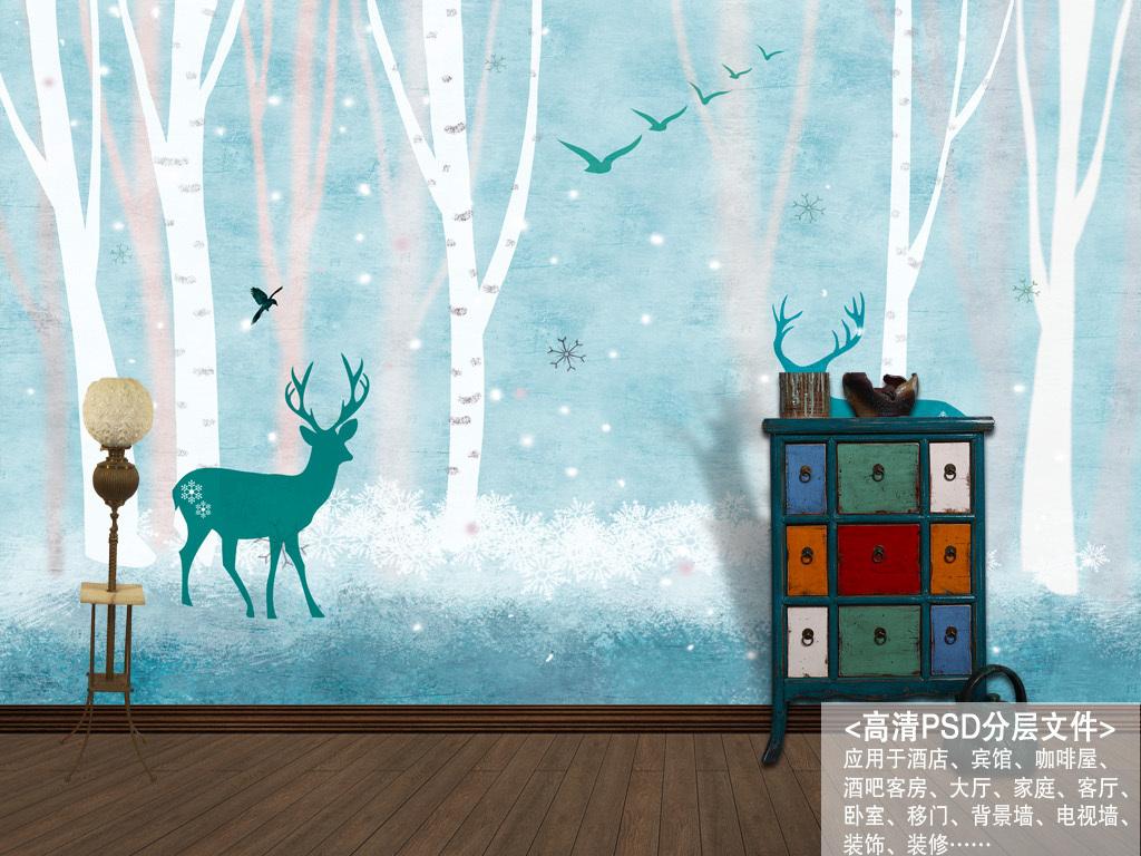 驯鹿森林北欧素雅抽象手绘背景墙装饰画