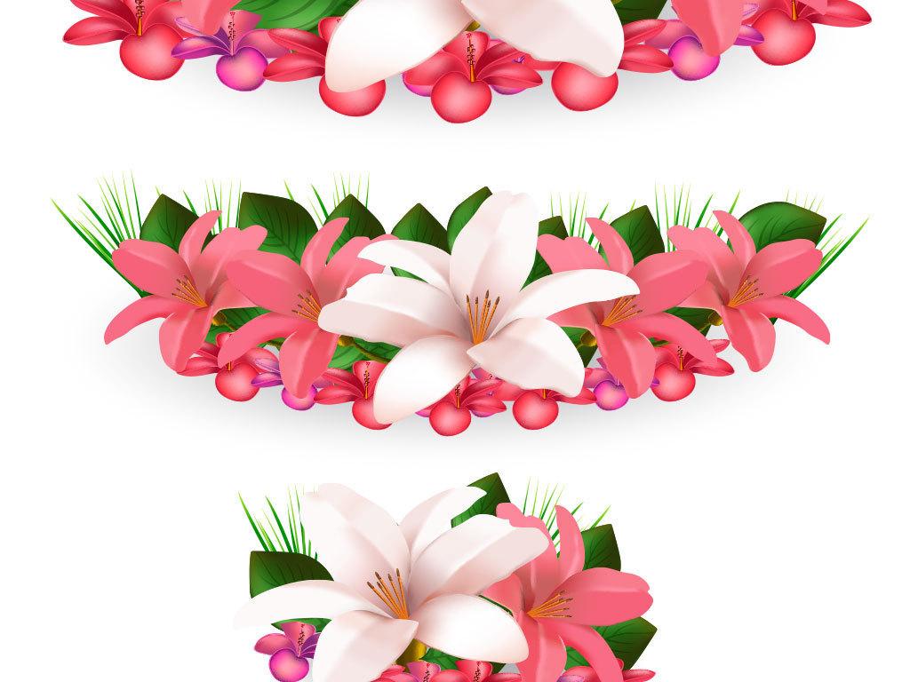 卡通花朵鲜花矢量背景图