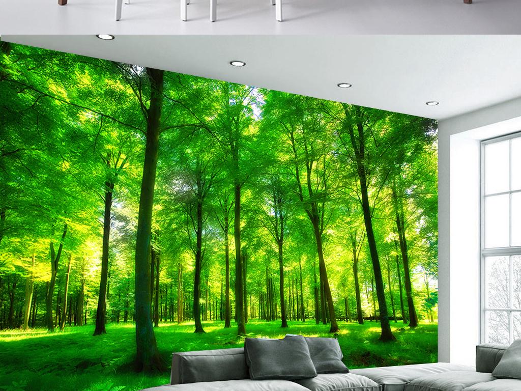 3d裸眼绿色阳光森林客厅电视背景墙