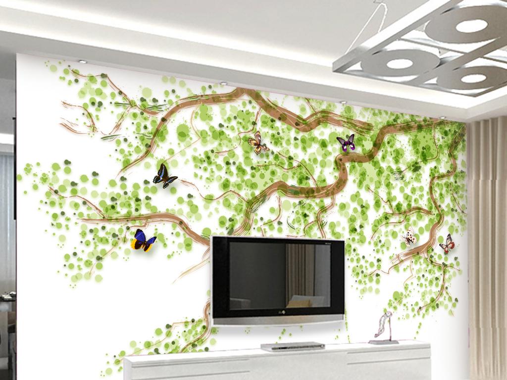 清新简约手绘背景墙客厅电视沙发背景墙