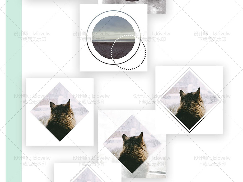 小清新北欧风水彩画动物图标图案设计素材