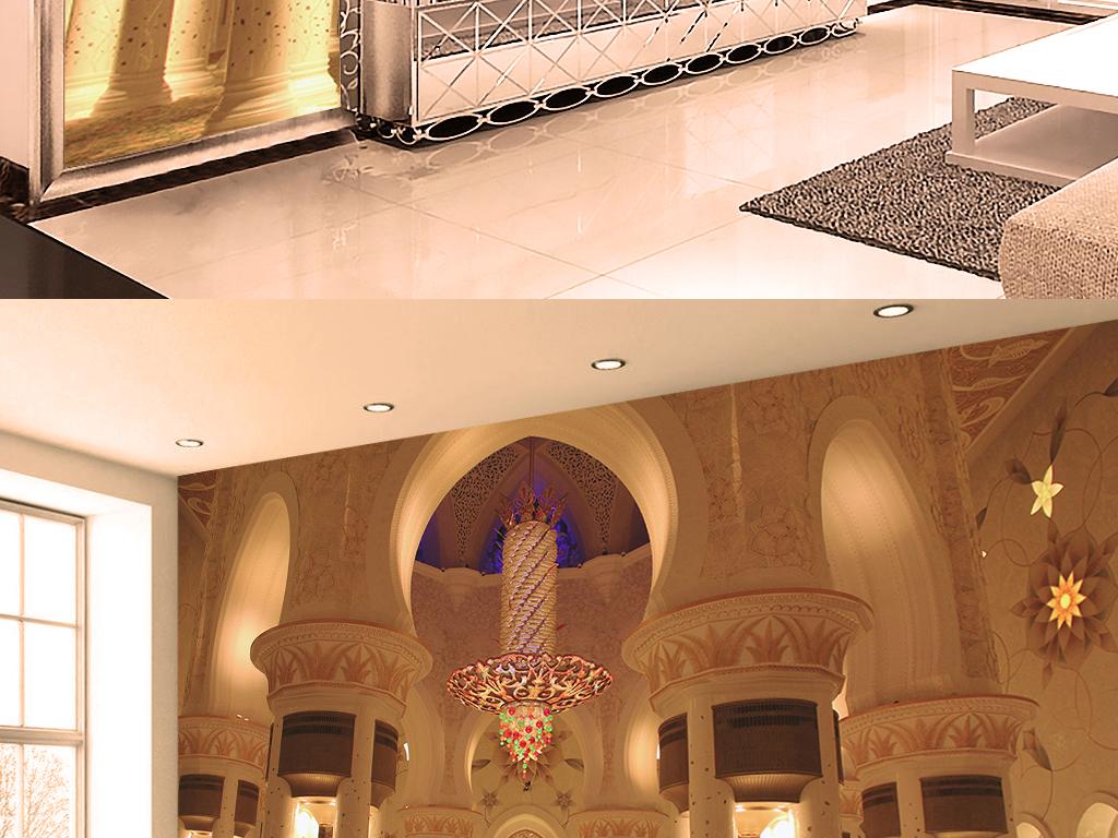 3d欧式金壁辉煌建筑宫殿客厅电视背景墙