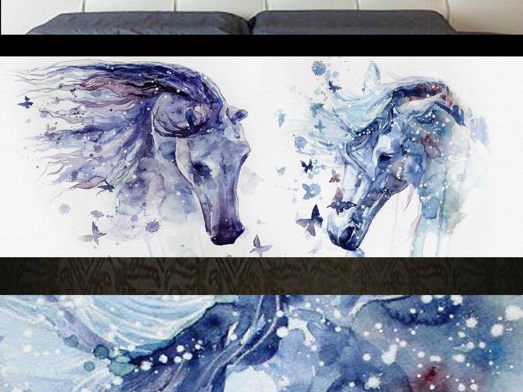 梦幻手绘水彩马装饰画床头画